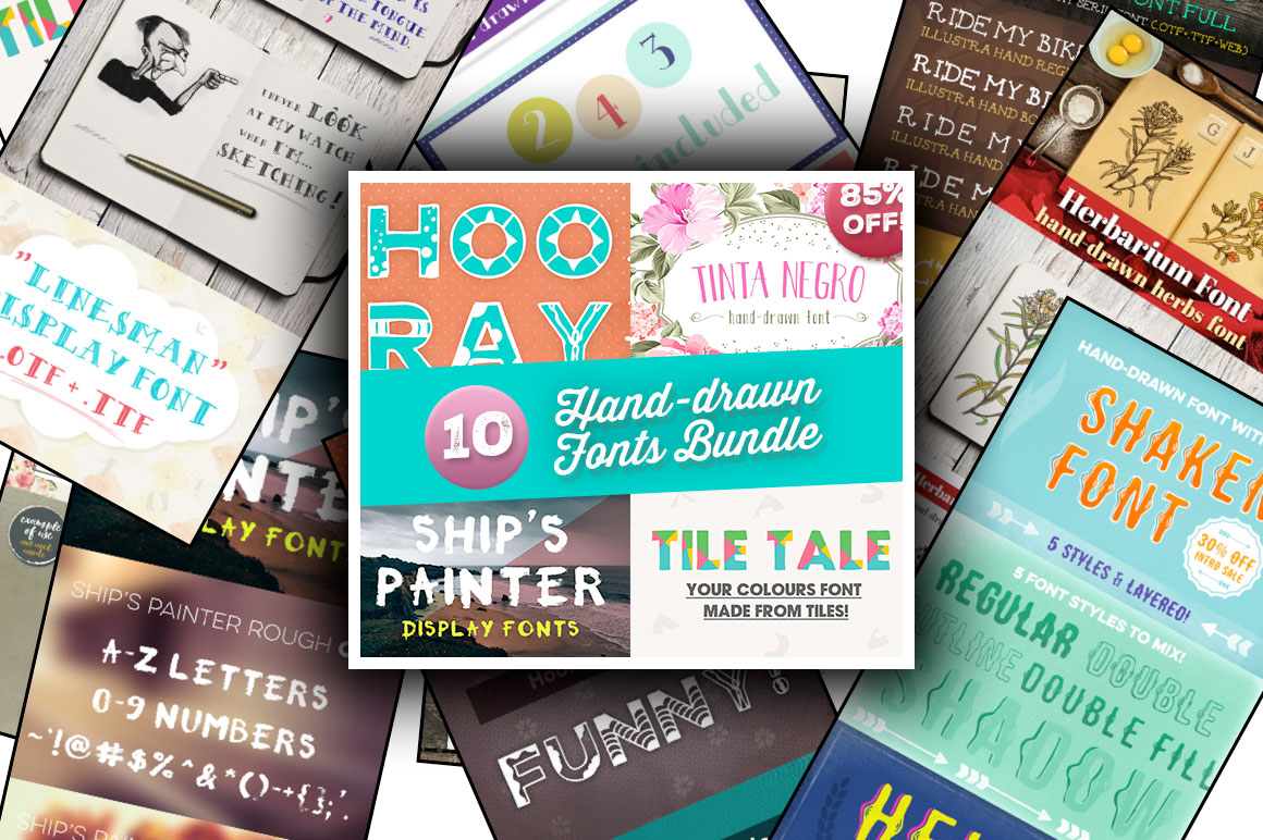10 Hand-Drawn Fonts Bundle