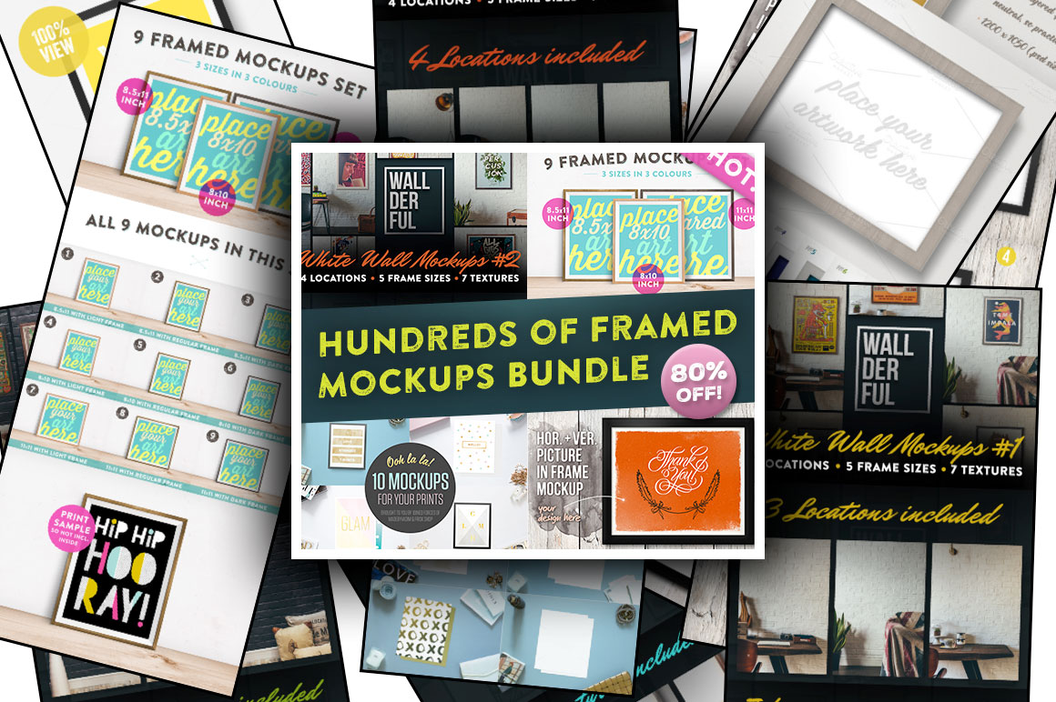 Hundreds of Framed Mockups Bundle