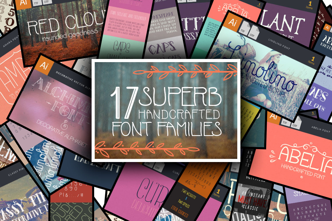 17 Superb Handcrafted Font Families & Bonus Vector Files