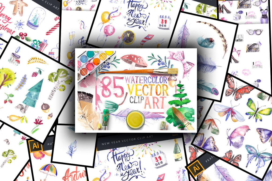 85 Beautiful Watercolor Vector Clip Art with an Extended License – Only $15