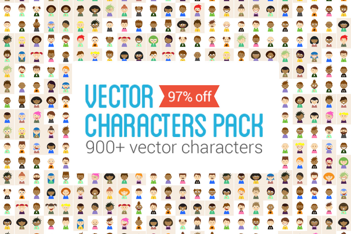 900+ Vector Characters Pack with an Extended License– Only $19