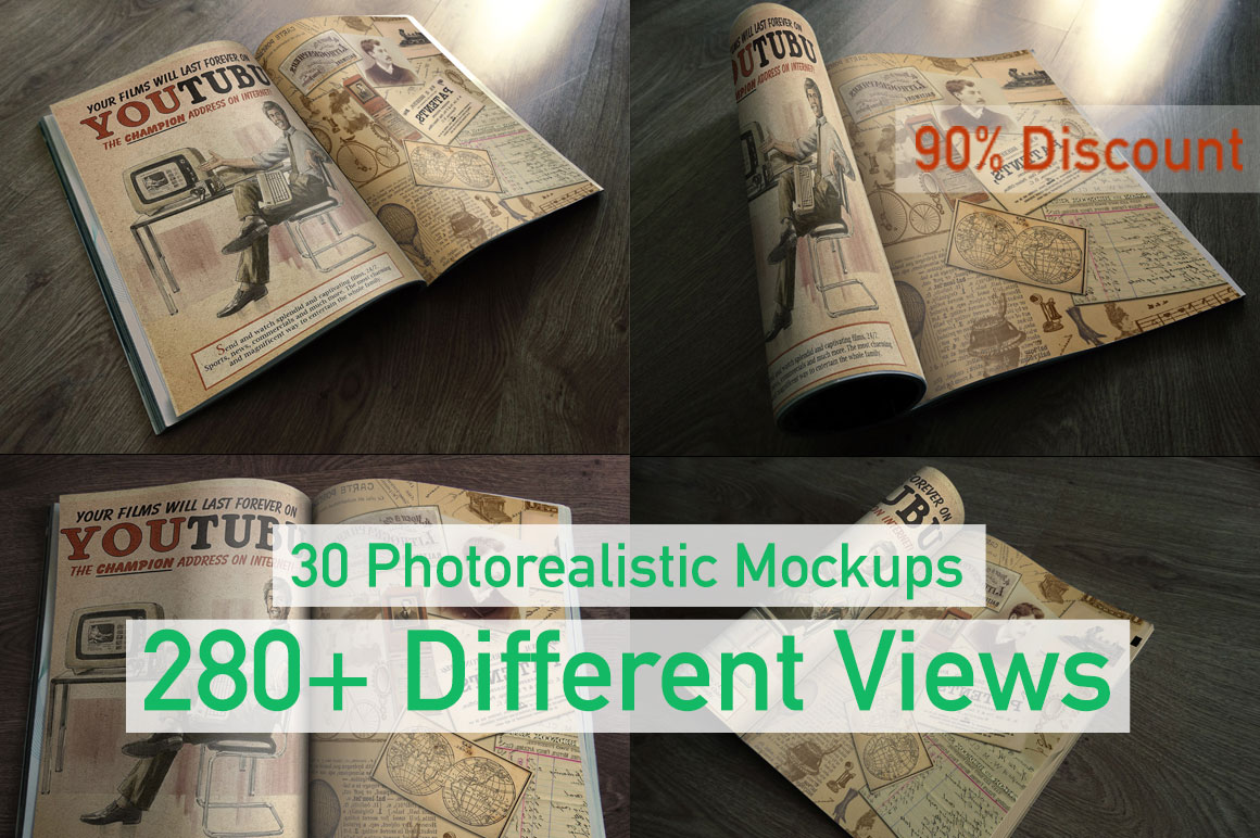 30 Photorealistic Mockups with 280+ Different Views - 90% Discount