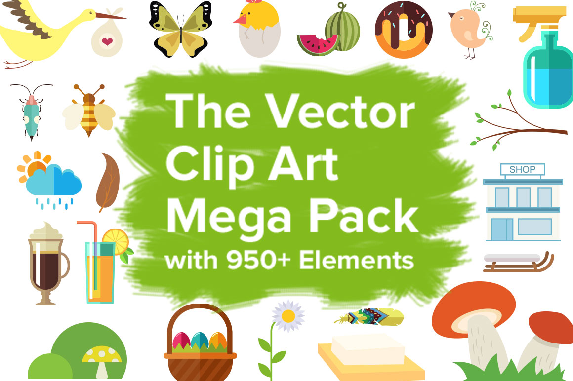 The Vector Clip Art Mega Pack with 950+ Elements – Only $19