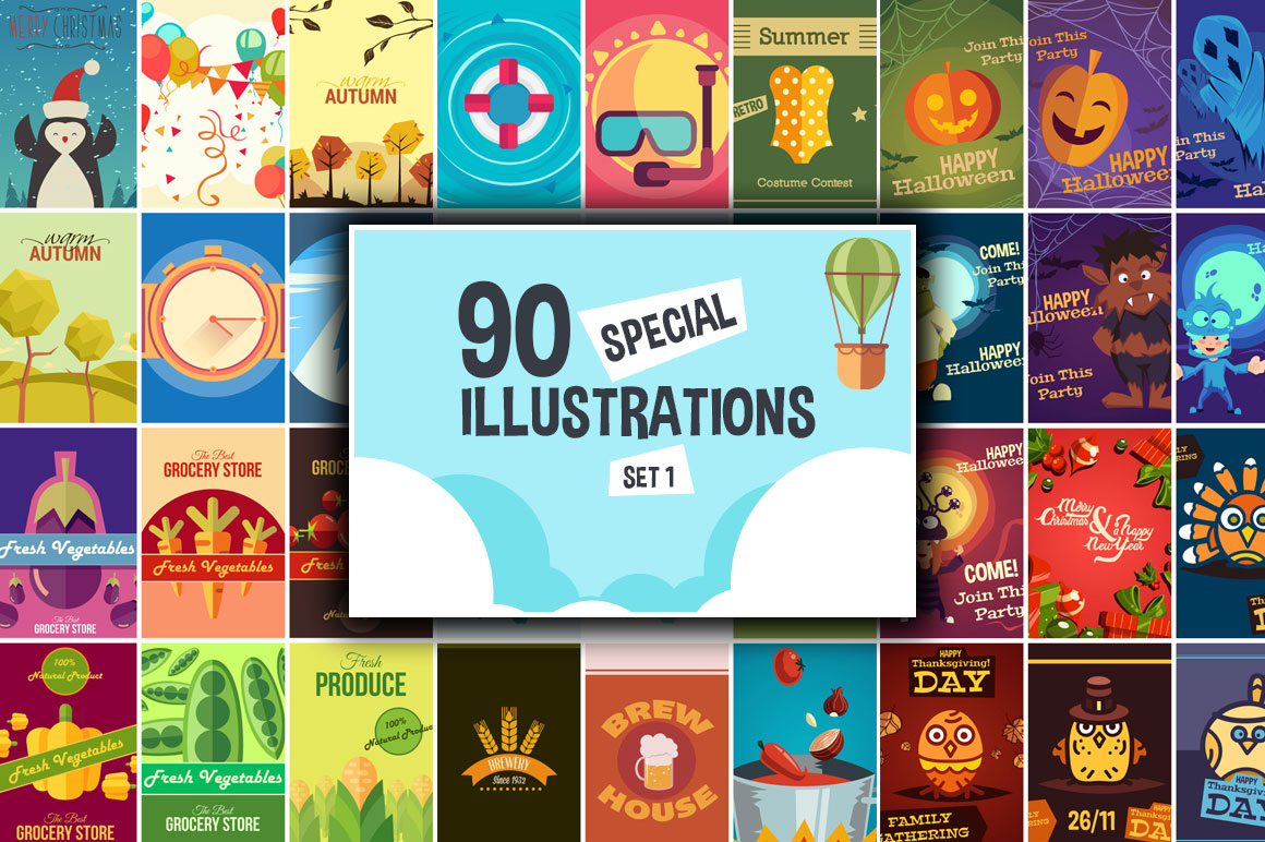 90 Special Illustrations Set 1 with Commercial License – Only $9