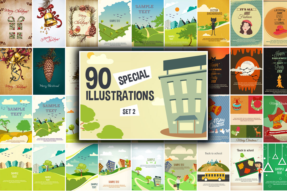 90 Special Illustrations Set 2 with Commercial License – Only $9