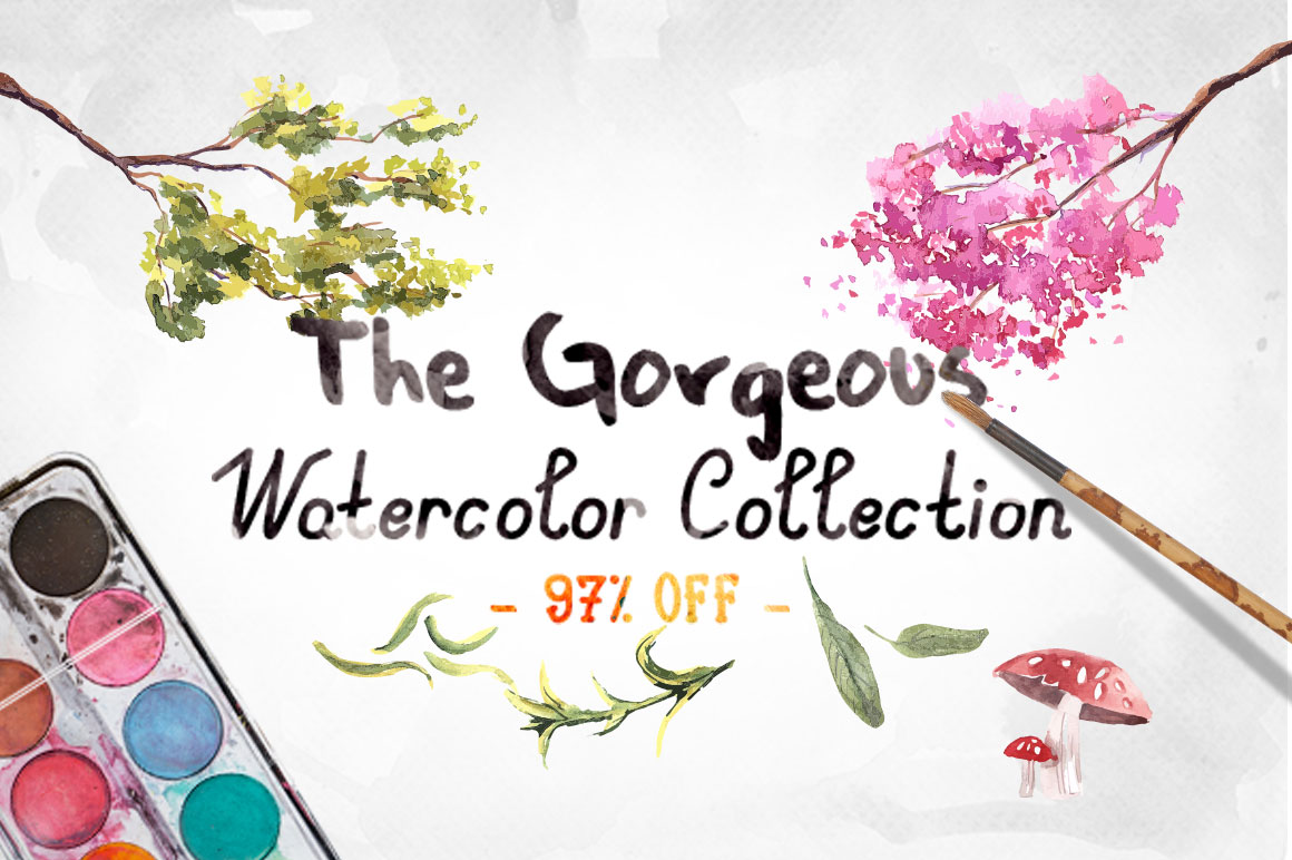 The Gorgeous Watercolor Collection with Bonus & Extended License – only $22