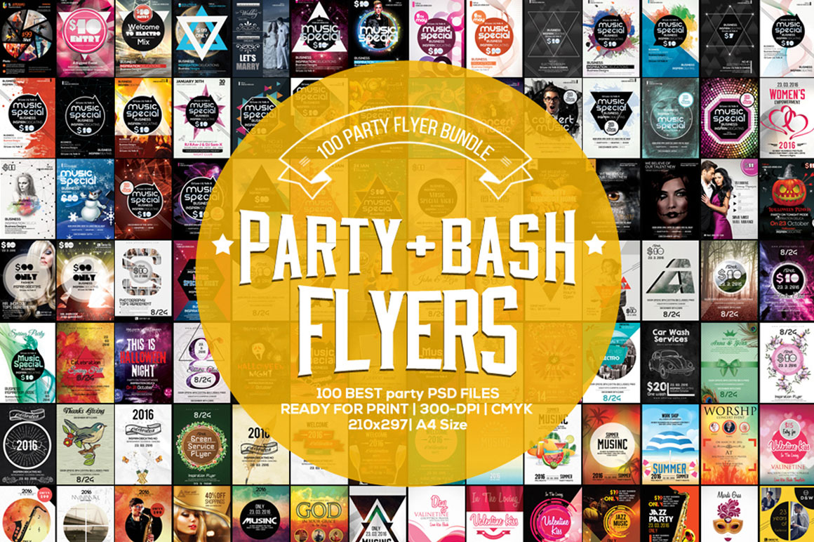 100 Party and Bash Flyer Bundle