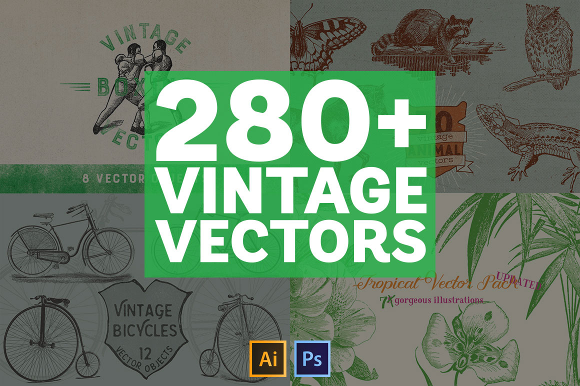 280+ Vintage Vectors Mega Bundle