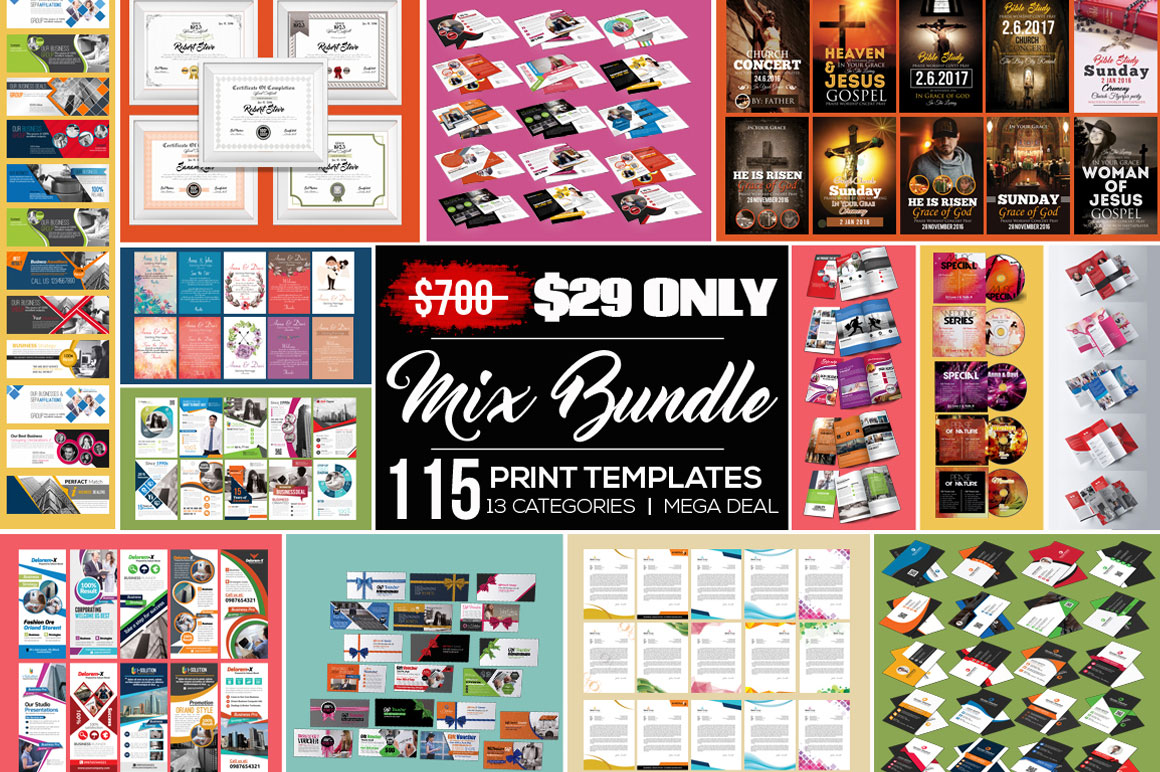 Huge Bundle of 115 Print Templates