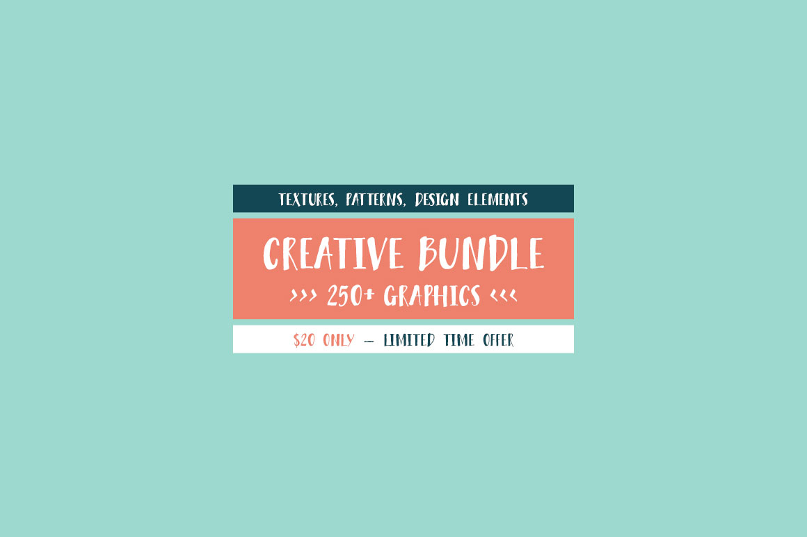 CREATIVE BUNDLE: 250+ Graphics – Textures, Patterns, Design Elements