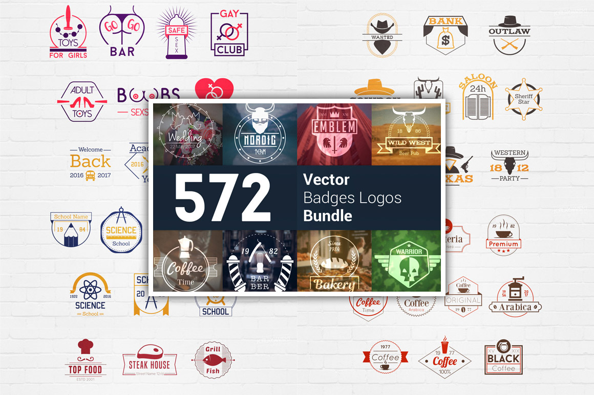 570+ Vector Badges Logos Bundle 92% OFF
