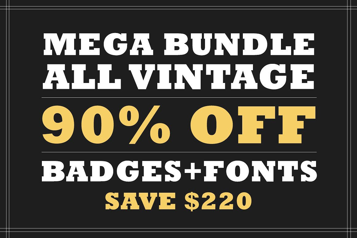Vintage Badges + Fonts & Graphics for only $9