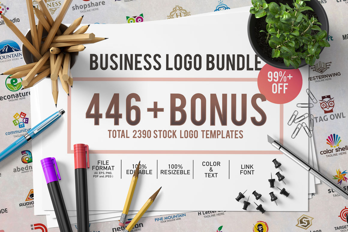 446 Business Logo Bundle - 99%+ OFF