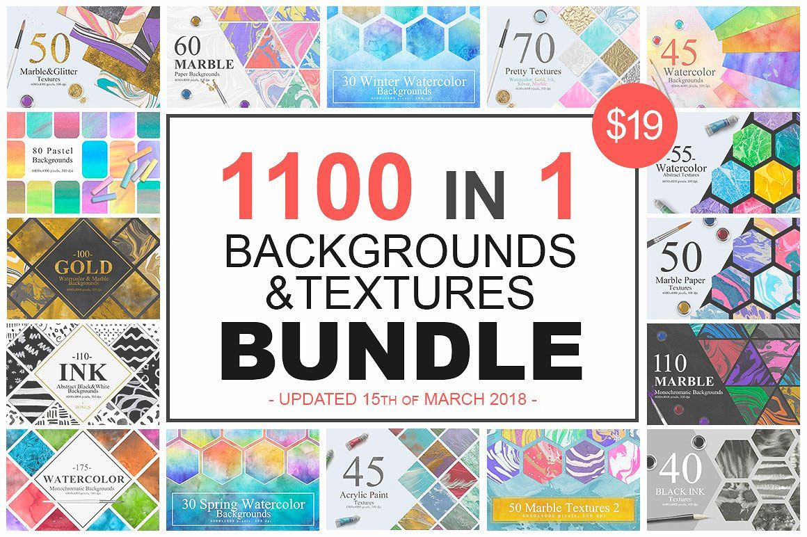 1100 Artistic Backgrounds Bundle