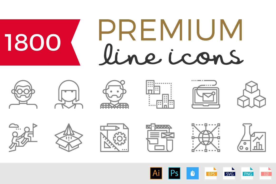 Becris Premium Line Icon Pack - 1800+ Icons for only $14