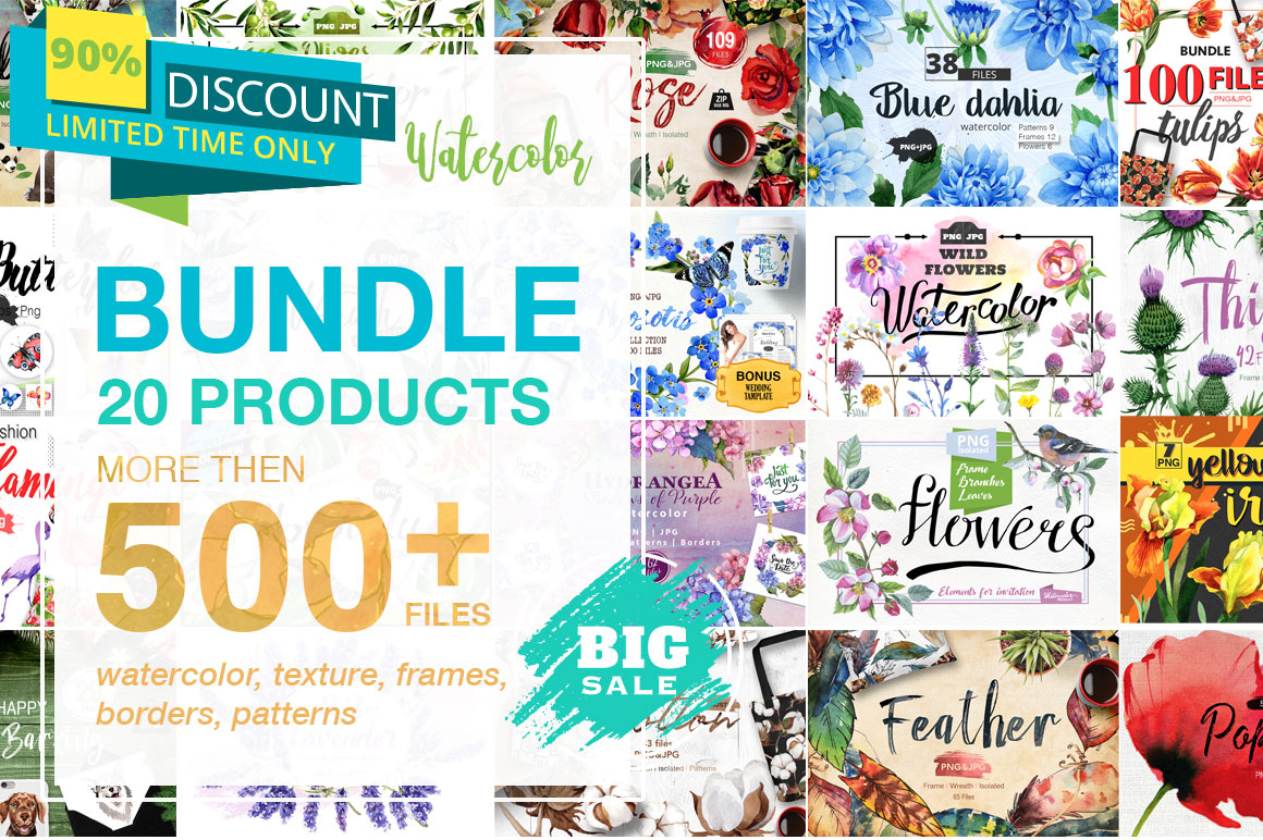 Watercolor Mega Bundle - 20 Sets with over 500 Graphics - only $12