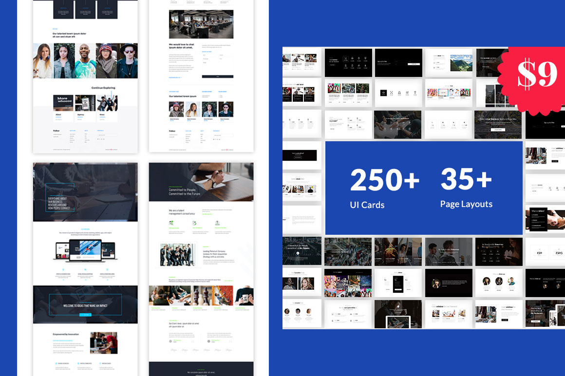Web Design Bundle UI Kit + Page Layouts + Business Tools
