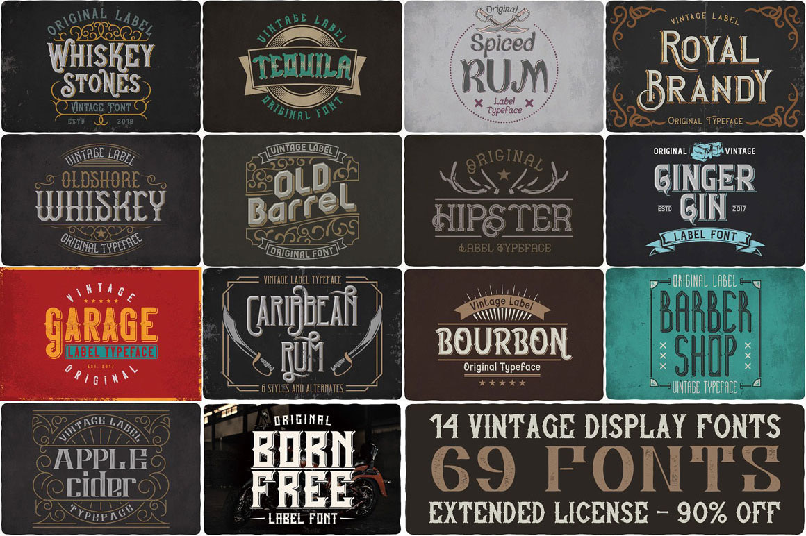 Vintage Fonts Bundle - 14 font families with 69 fonts for only $12