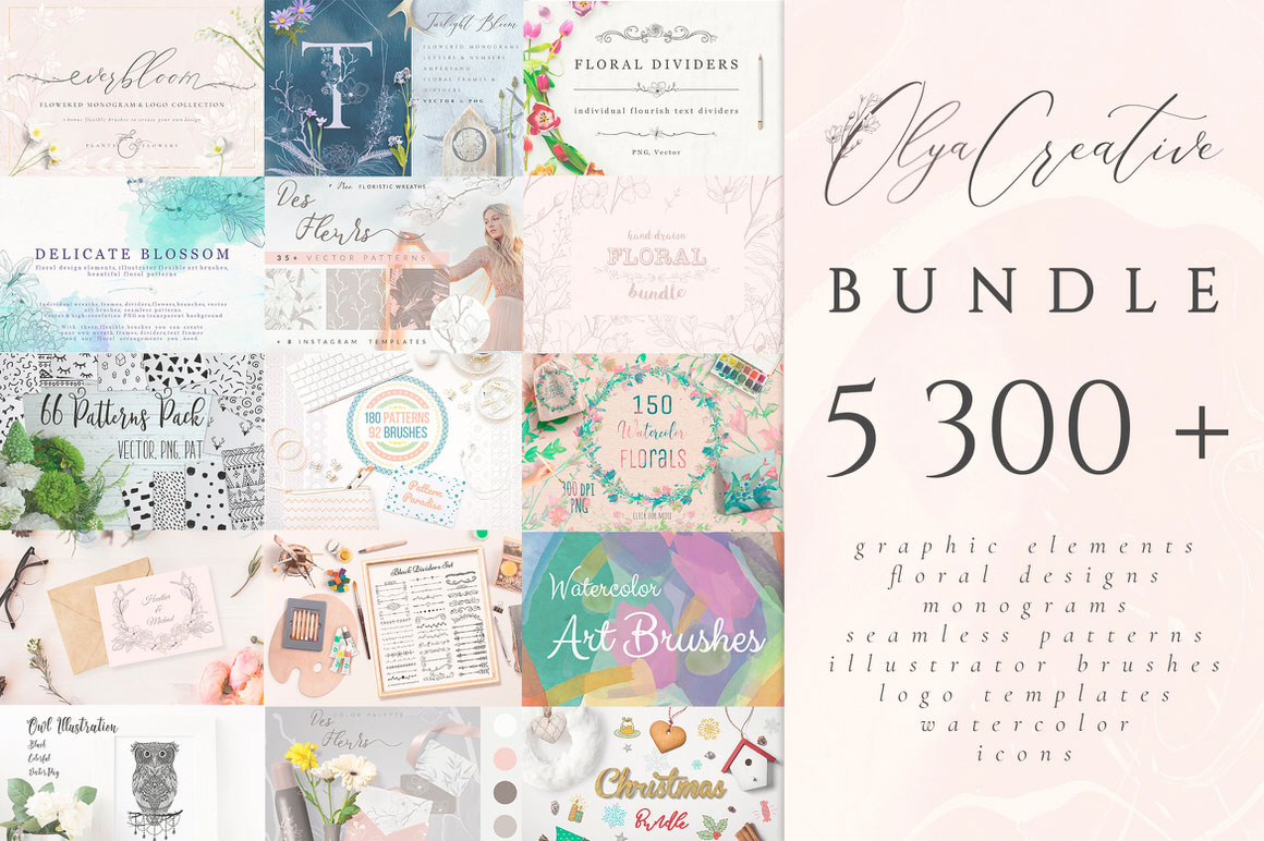 5300+ Floral Designs, Monograms, Patterns, Illustrator Brushes, Logo Templates, Icons, Watercolors