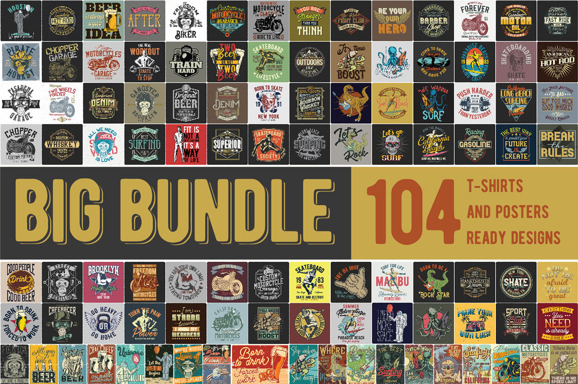T-shirts and posters Big Bundle 2.0 - 104 items for only $9