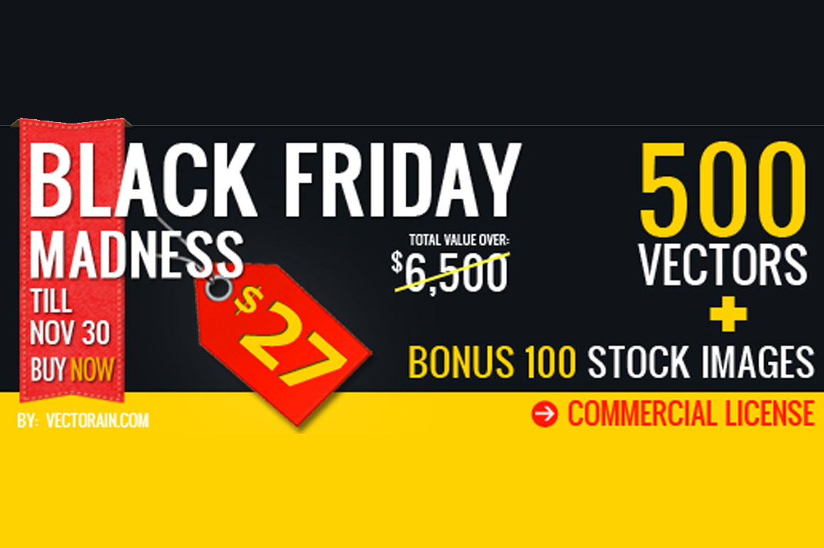 Bundle of 500 Vectors + 100 Bonus Stock Images (Commercial License) for only $27